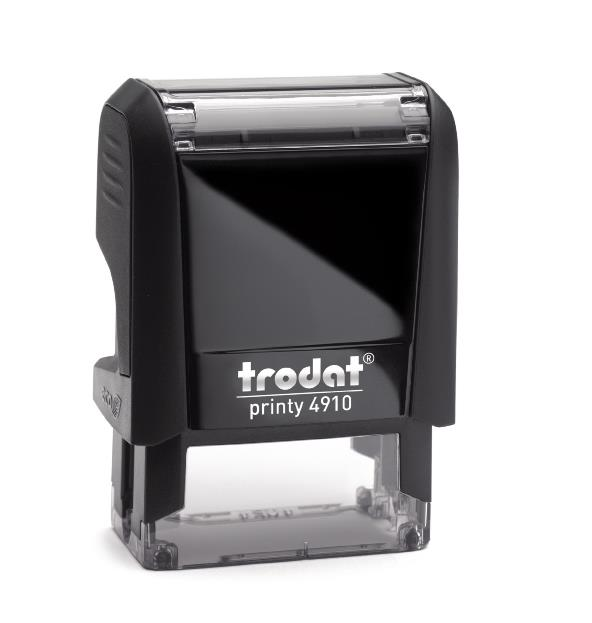 Trodat 4910: Self-inking, medium quality. Good for up to 20,000 impressions before re-inking.