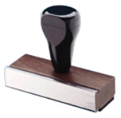 "2 LINE WOOD HANDLED RUBBER STAMP UP TO 1/2"" X 3"""
