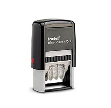 Printy Dater 1 in. x 1-5/8 in. Create a self-inking date stamp with your custom text. Choice of black, blue, red, green or violet inkpad included.